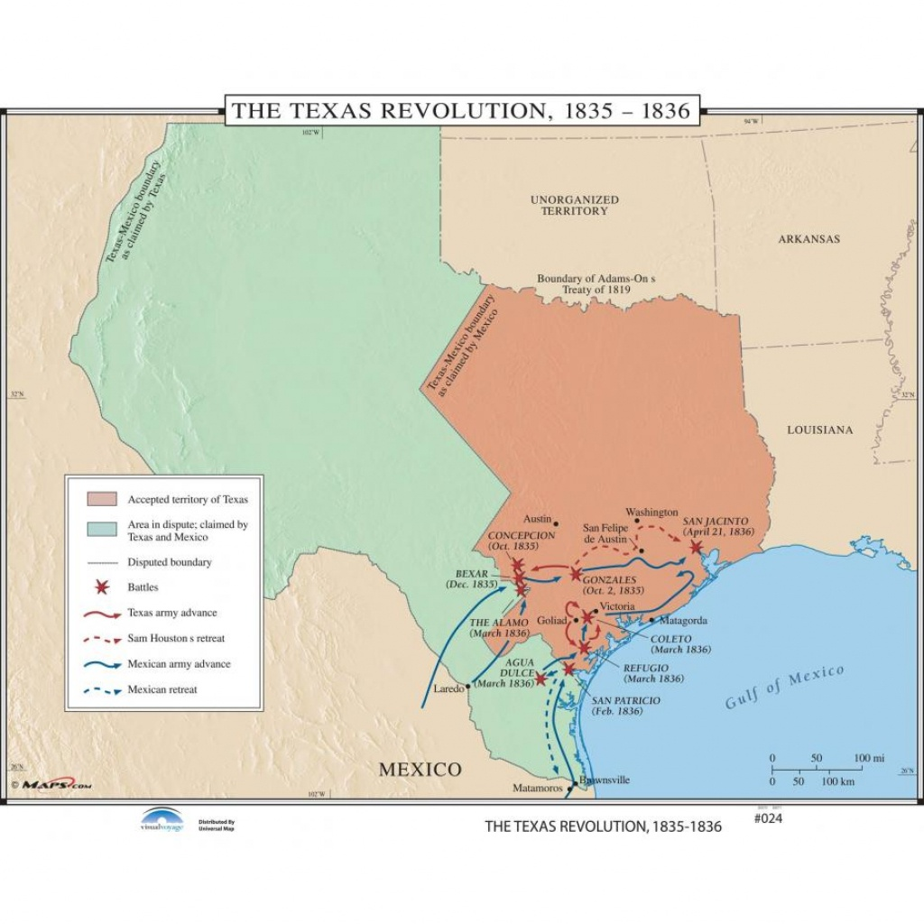 024 The Texas Revolution, 1835-1836 On Roller W/ Backboard - The Map - Texas Map 1836