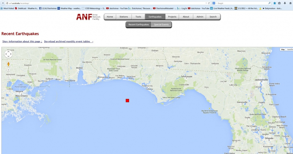 10/30/2014 — Florida 4.5M Earthquake – Nw Panhandle Near Oil - Florida Earthquake Map