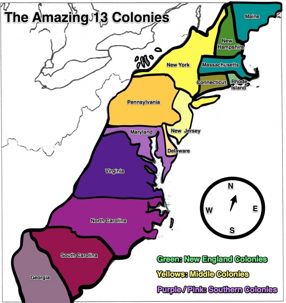 13 Colonies Map - Free Large Images | Home School | 13 Colonies - Printable Map Of The 13 Colonies With Names