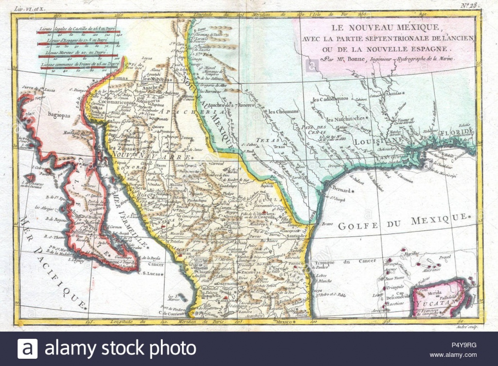1780 Bonne Map Of Texas, Louisiana ^ New Mexico - Geographicus - Texas Louisiana Map
