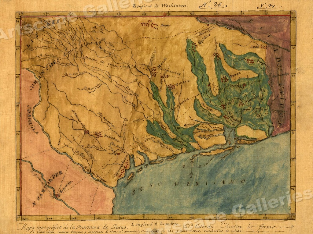 1822 Map Of Texas Territory And Gulf Coaststephen F. Austin - Stephen F Austin Map Of Texas