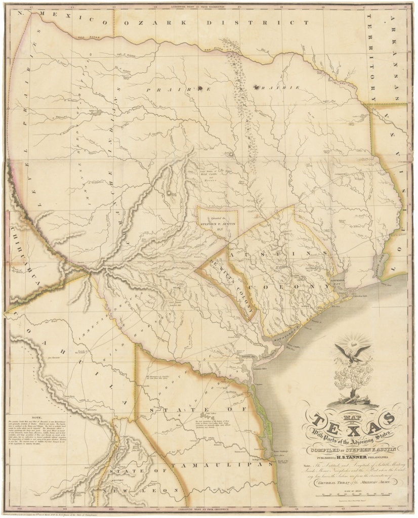 "1830 First Edition Of The Austin Map Of Texas: ""The Map Of Texas I - Old Texas Maps Prints"