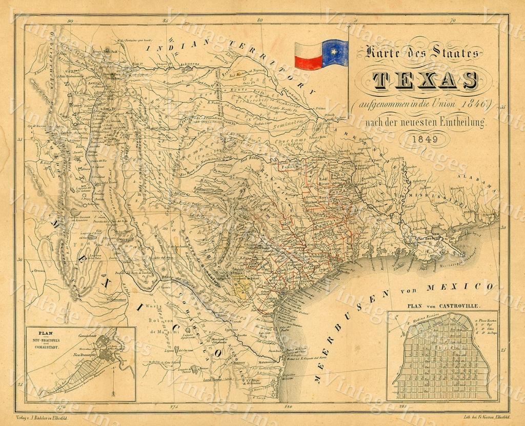 1849 Map Of Texas Old Texas Map, Texas, Map Of Texas, Vintage - Vintage Texas Map Framed