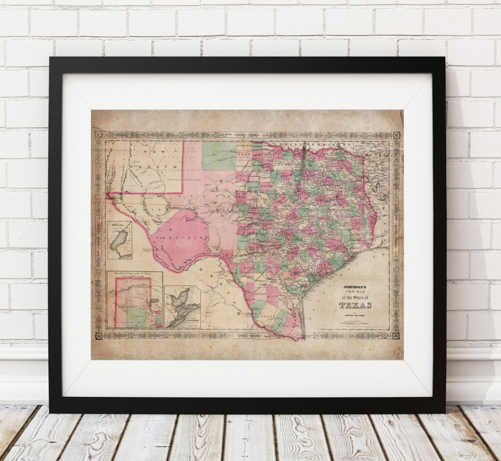 1866 Texas Map Print, Vintage Map Art, Antique Map, Wall Art, Map Of - Texas Map Wall Art