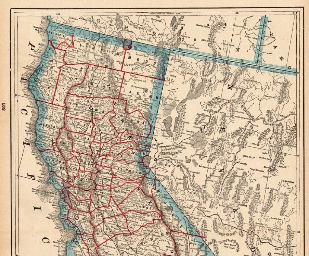 1898 Antique California Map Original Vintage State Map Of California - Vintage California Map