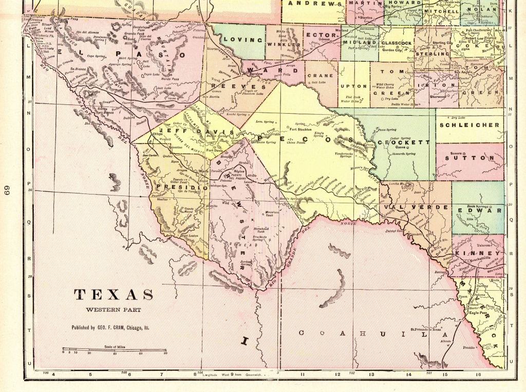 1901 Vintage Texas Map Of Western Texas Antique Map Travel | Etsy - Vintage Texas Map