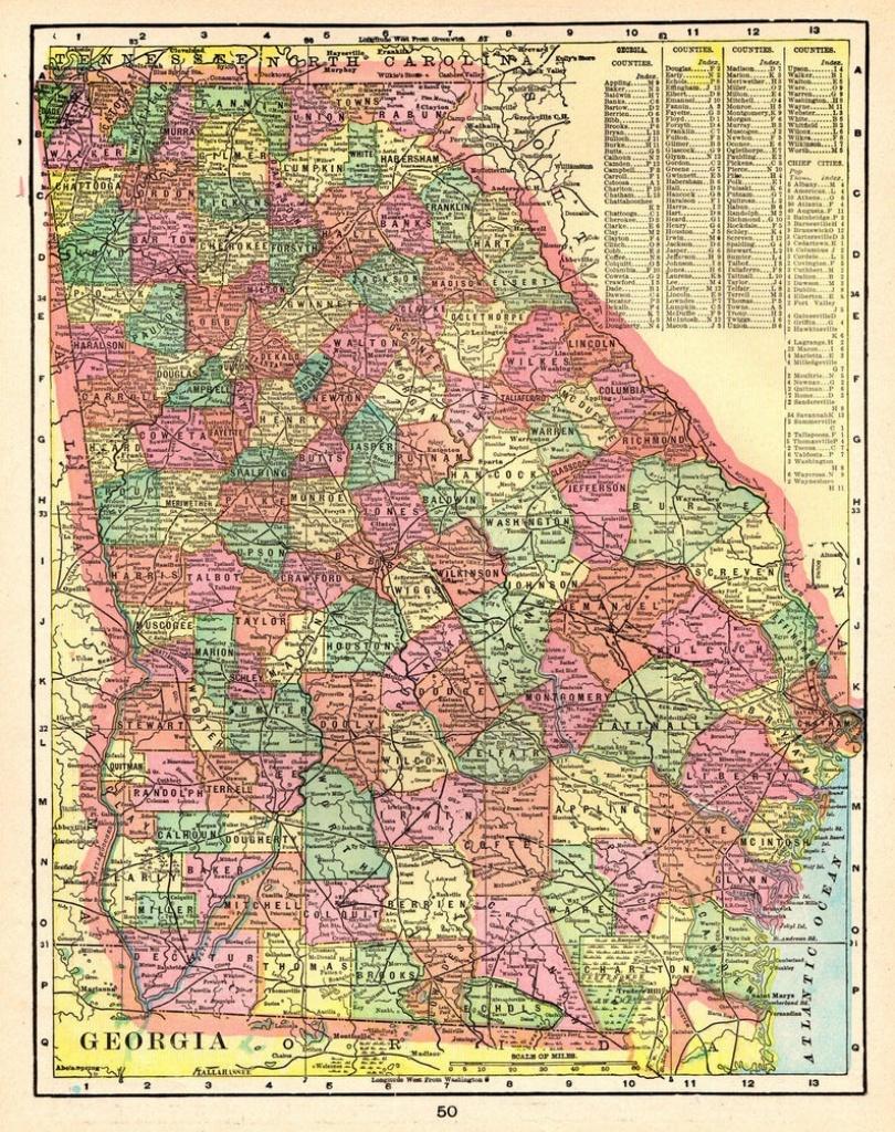 1903 Antique Georgia Map Of Georgia State Map Print Gallery | Etsy - Georgia State Map Printable
