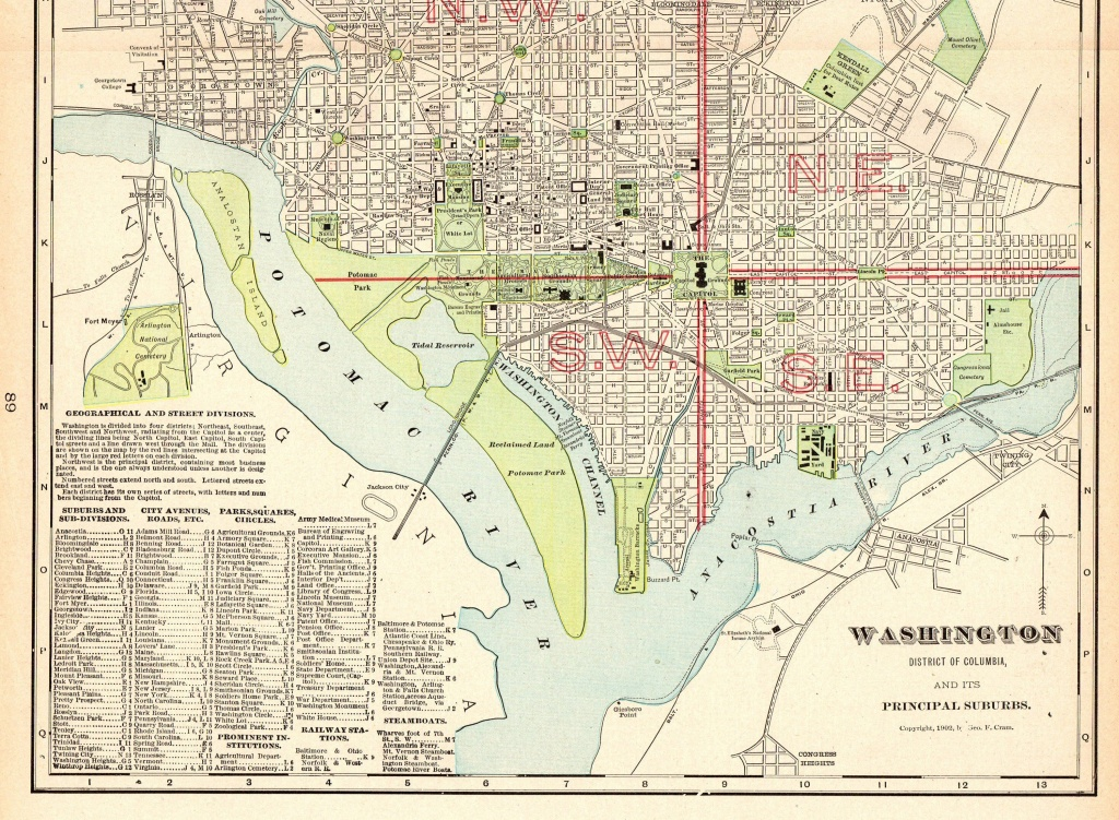 1906 Antique Washington Dc Map Vintage City Map Of Washington Dc - Washington Dc City Map Printable