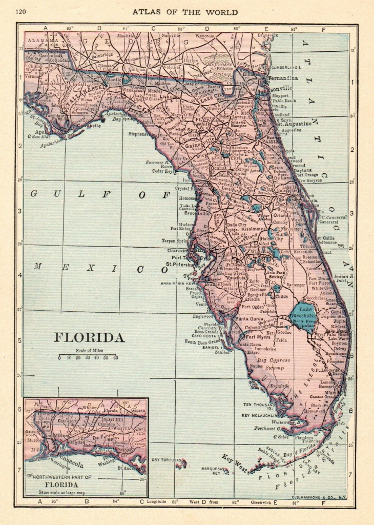 1926 Antique Florida Map Vintage Map Of Florida State Map Gallery - Florida Map Wall Decor