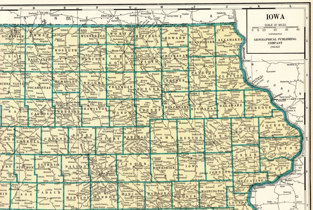 1931 Antique Rare Size Iowa State Map Vintage Map Of Iowa Poster - Printable Map Of Iowa