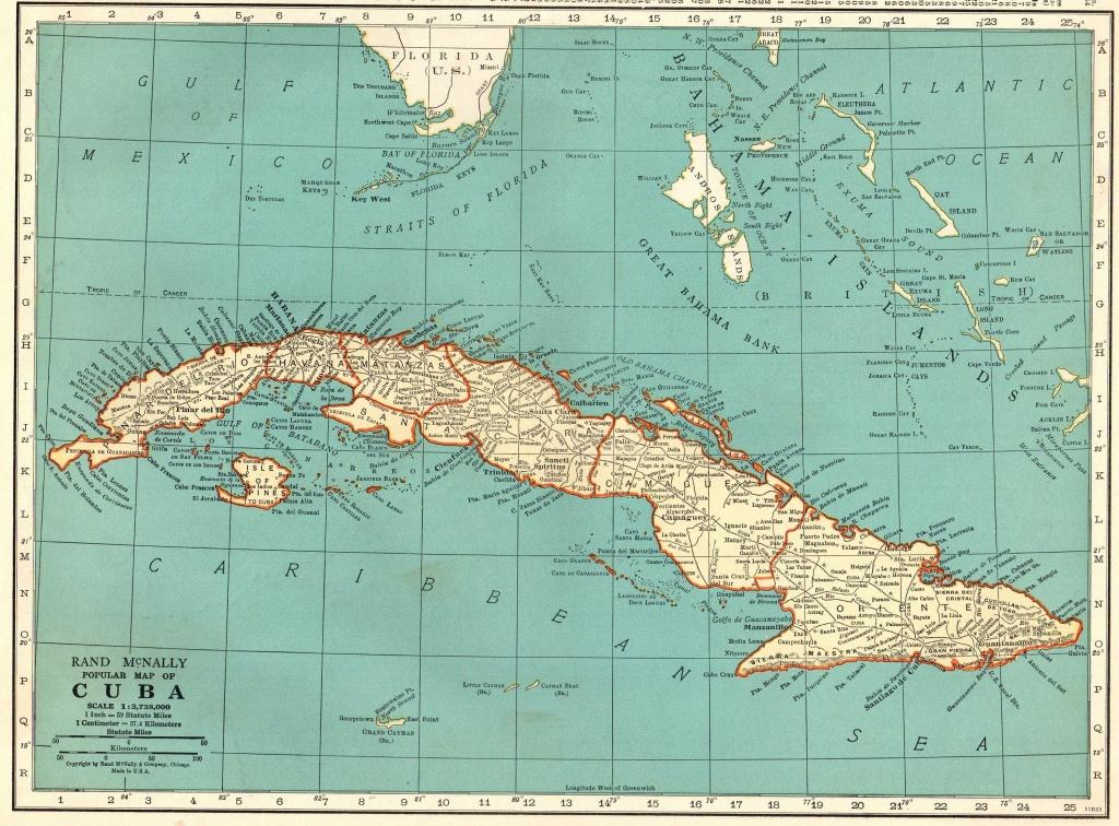 1940 Antique Cuba Map Vintage Map Of Cuba Gift Gallery Wall Art - Printable Map Of Cuba