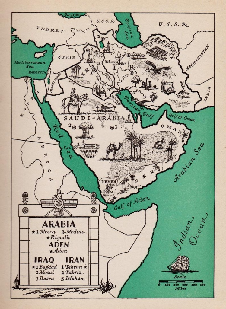 1940's Arabia Picture Map Of Saudi Arabia Print Map Of | Etsy - Printable Map Of Saudi Arabia
