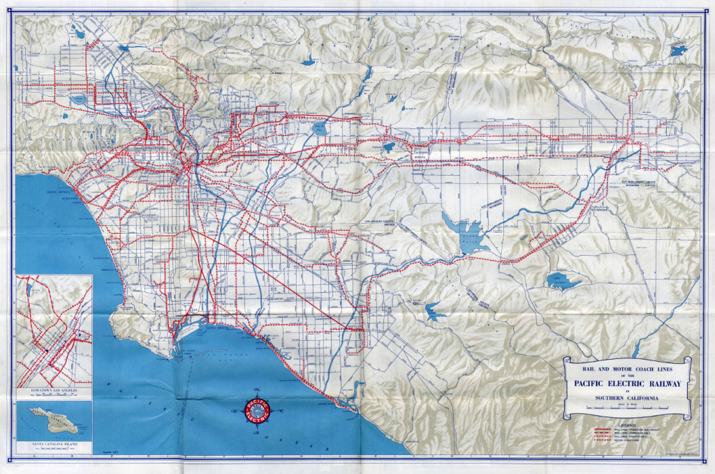 1947 Pacific Electric System Map - Pacific Electric Railway - Southern California Train Map