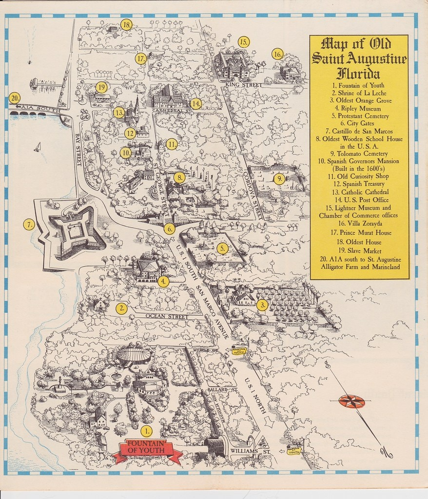 1952 Map Of Old Saint Augustine Florida | 1. Fountain Of You… | Flickr - Where Is St Augustine Florida On The Map