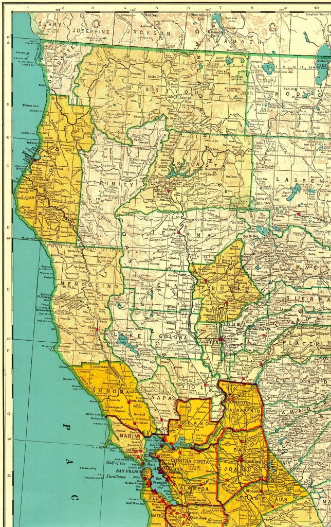 1956 Rare Size Vintage California Map Poster Size With Railroads - Northern California Wall Map