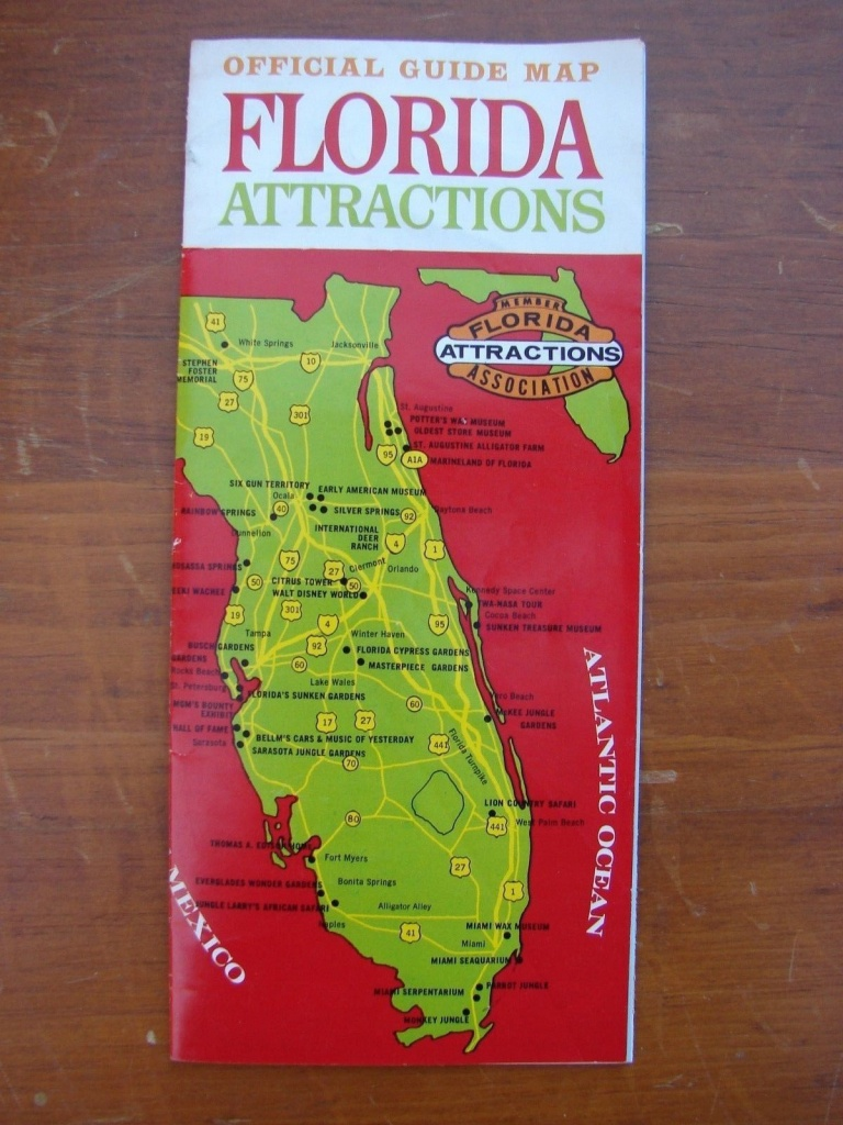 1960S Florida Attractions Official Travel Guide Map; Disney World - Lion Country Safari Florida Map
