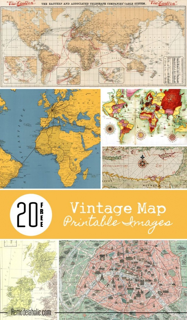 20 Free Vintage Map Printable Images   Remodelaholic #art - Create Printable Map
