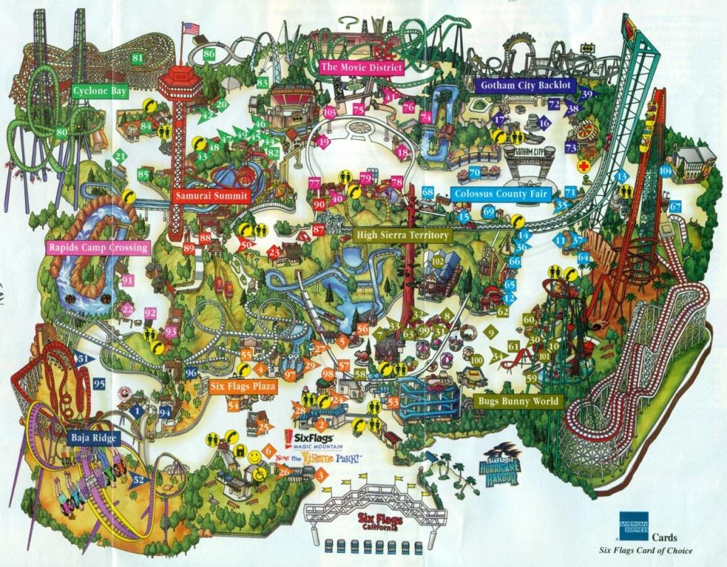 2001 Six Flags Magic Mountain Map & Guide – The Coaster Guy - Six Flags Map California 2018