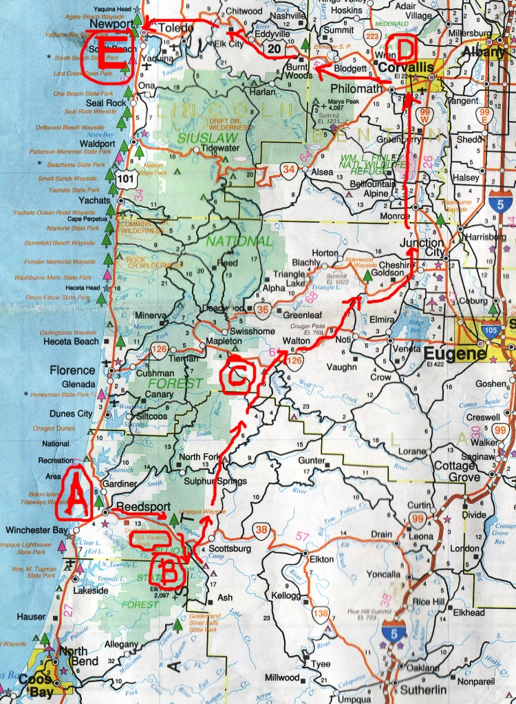 2006 Oregon Motorcycle Trip - Avenue Of The Giants California Map