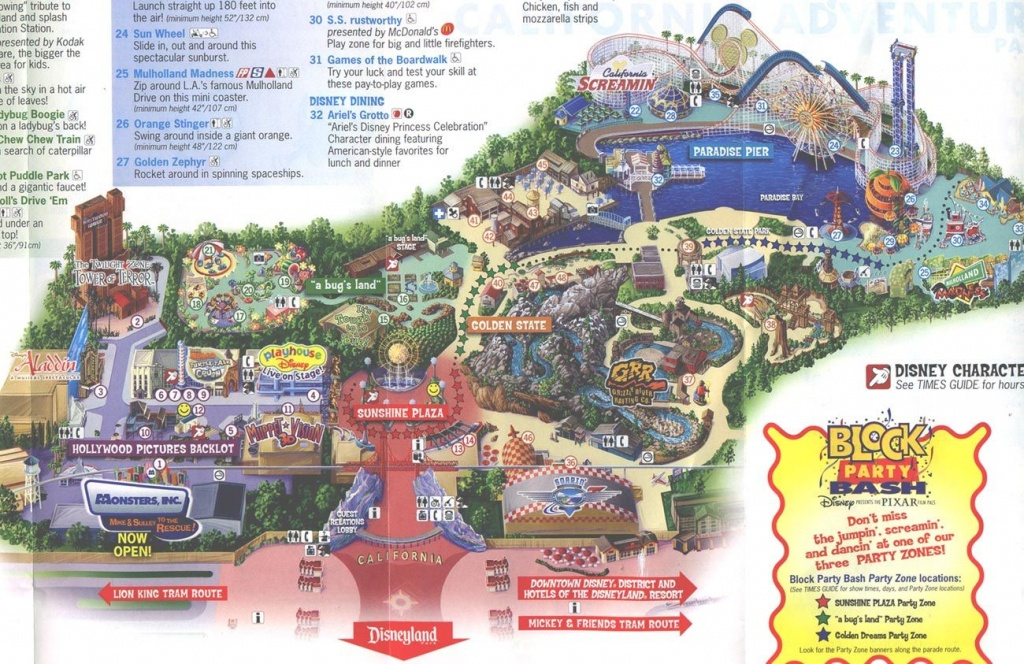 2013 Disneyland Adventure Park Map | Disney's California Adventure - Theme Parks California Map