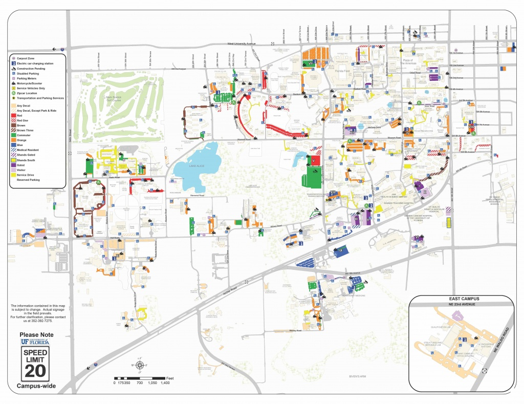 2018-19 Pdf Map - Transportation And Parking Services Transportation - Uf Campus Map Printable