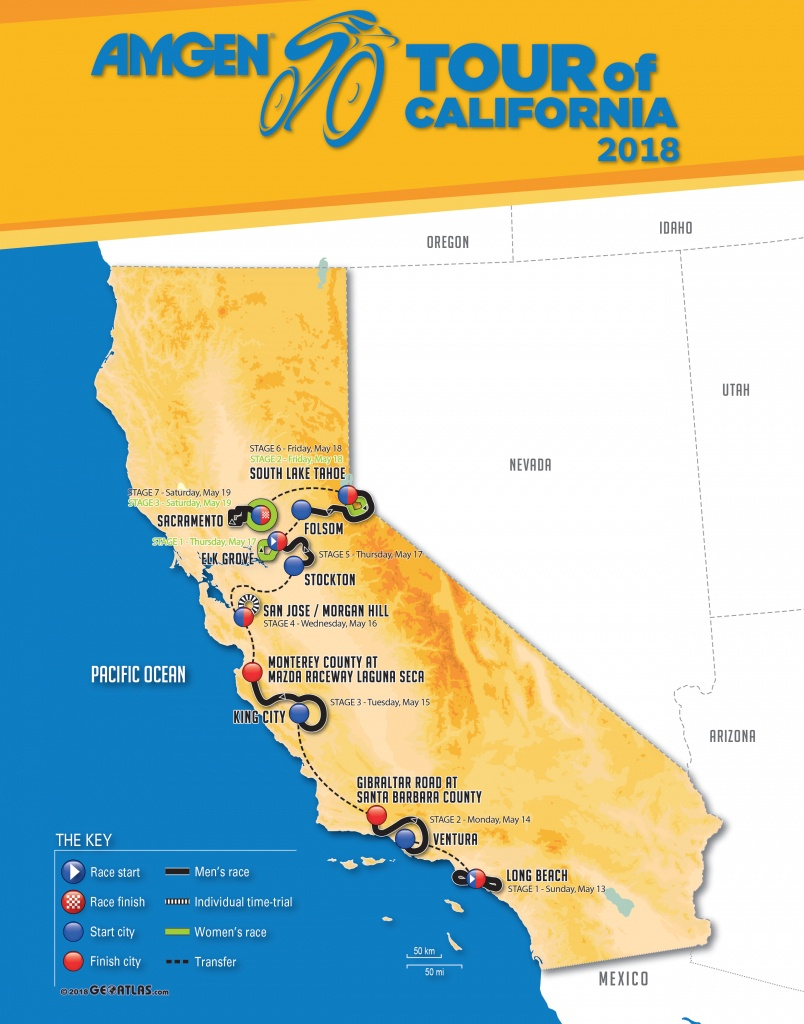 2018 Amgen Tour Of California Men's And Women's Race Routes - Tour Of California 2018 Map