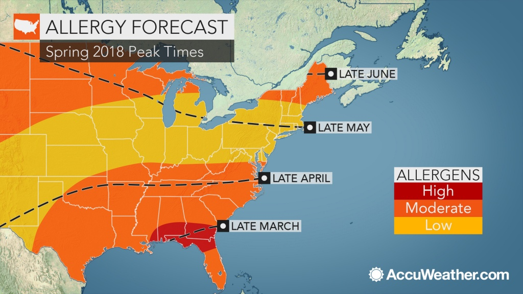 2018 Spring Allergy Forecast: Pollen Levels To Soar Early In The - Pollen Map Texas