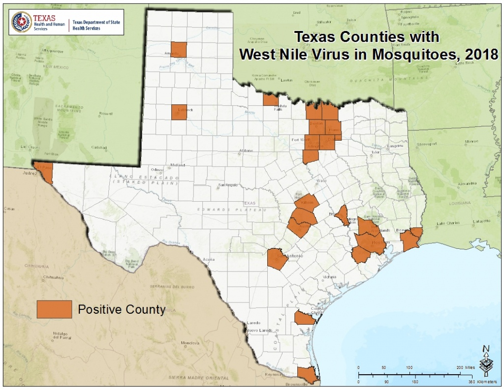 2018 Texas West Nile Virus Maps - Mountain Lions In Texas Map