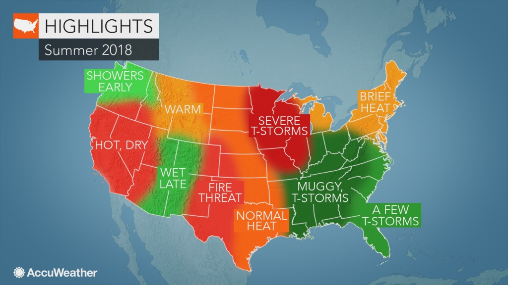 2018 Us Summer Forecast: Early Tropical Threat May Eye South; Severe - Heat Map Southern California