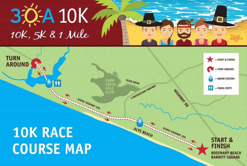 30A 10K And Fun Run | 30A 10K, 5K And Fun Run Event Maps - Watersound Florida Map