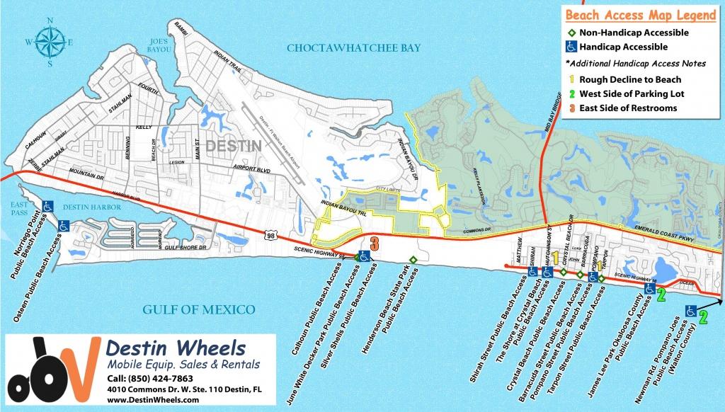 30A & Destin Beach Access - Destin Wheels Rentals In Destin, Fl - Emerald Coast Florida Map