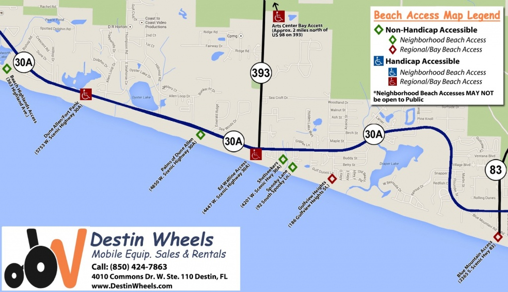 30A & Destin Beach Access - Destin Wheels Rentals In Destin, Fl - Where Is Destin Florida Located On The Florida Map
