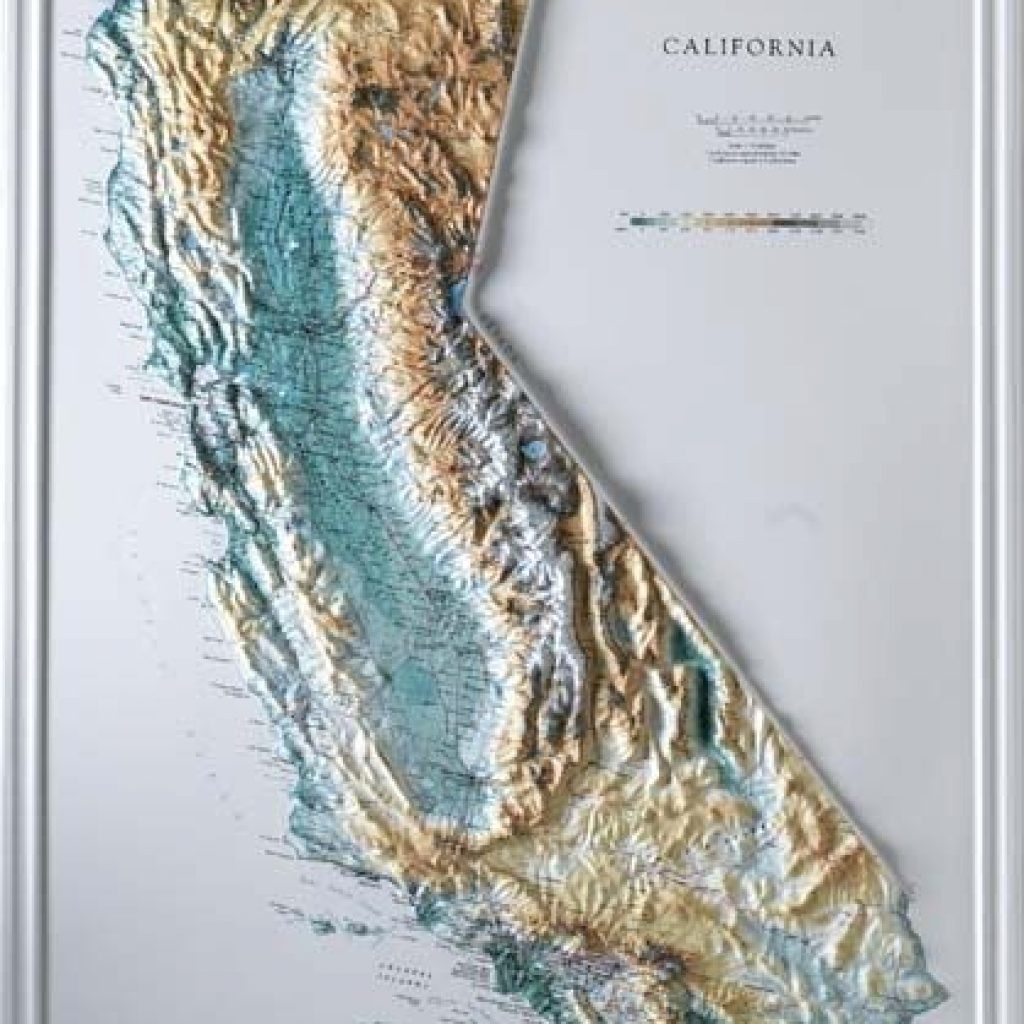 3D Map Of California Topographic Maps For Sale Raised Relief - California Maps For Sale