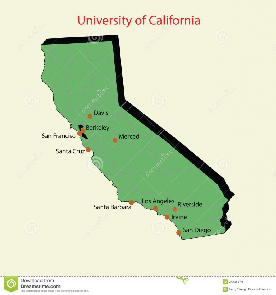 3D Map Of University Of California Campuses Stock Illustration - Map Of California Showing Santa Barbara