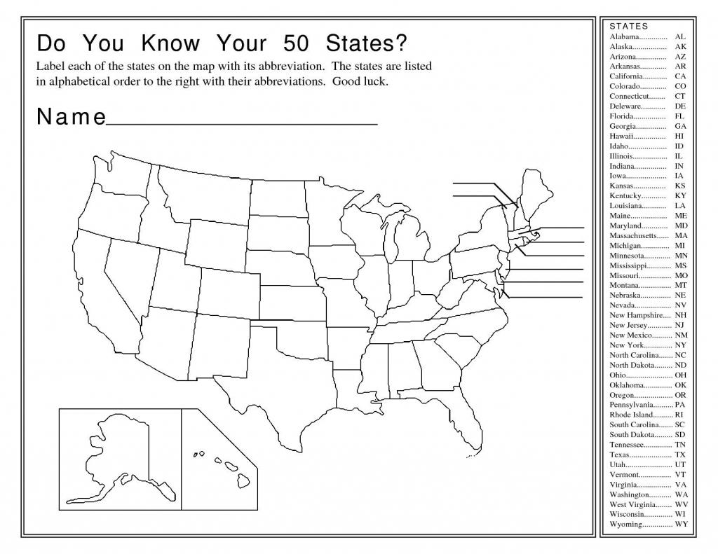 50 States Map Quiz Printable | 4Th Grade Throughout 50 States And - Us Map Quiz Printable