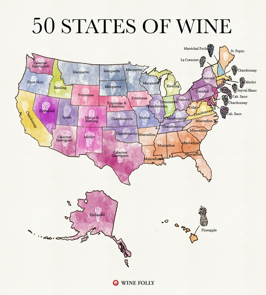 50 States Of Wine (Map) | Wine Folly - Florida Winery Map