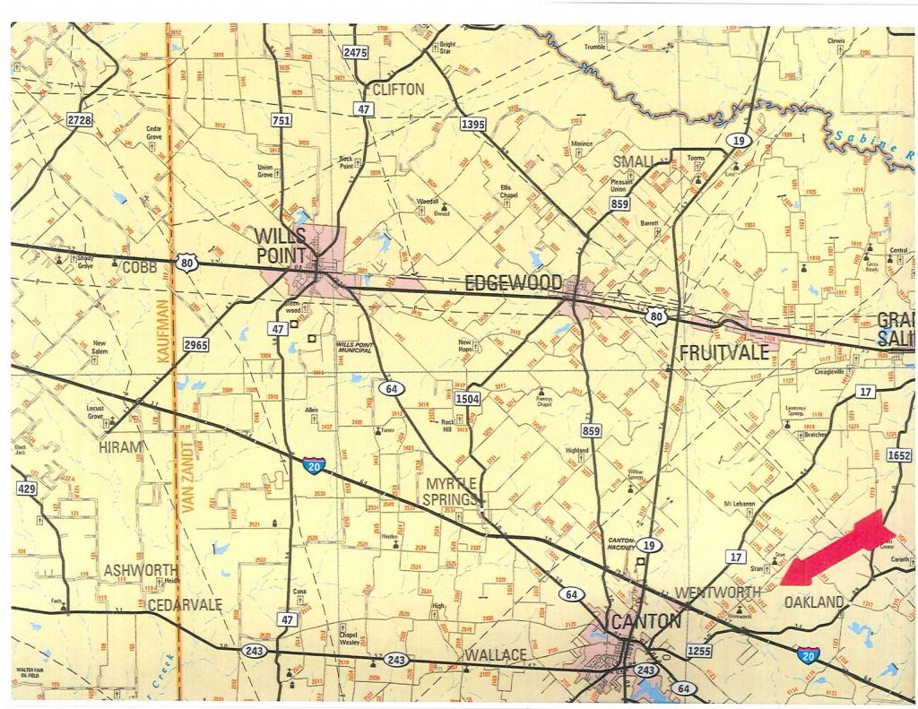 555 Acres In Van Zandt County, Texas - Van Zandt County Texas Map
