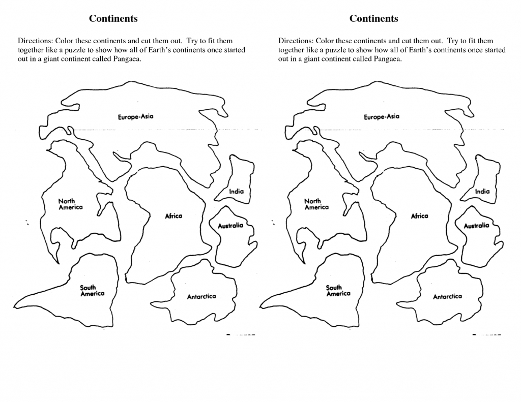 7 Continents Cut Outs Printables | World Map Printable | 7 - 7 Continents Map Printable