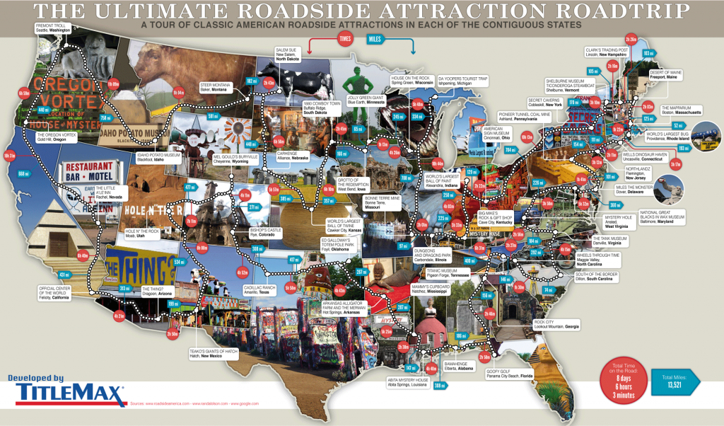 79 Weird Roadside Attractions Road Trip[Infographic] - Titlemax - California Roadside Attractions Map