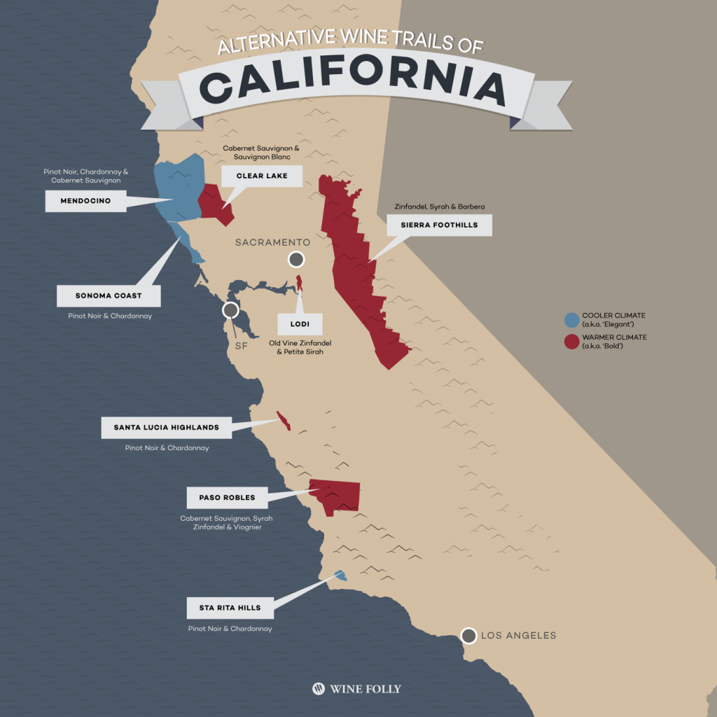 8 Alternative Wine Trails Of California | Wine Folly - California Wine Trail Map