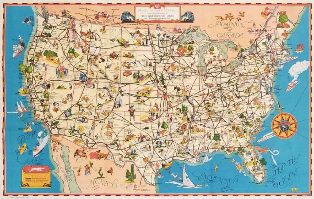 A Good Natured Map Of The United States - And A Guide To The - Greyhound Map California