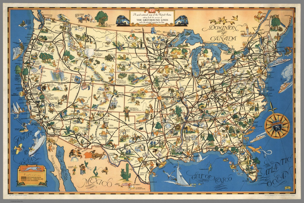 A Good-Natured Map Of The United States Setting Forth The Services - Greyhound Map California