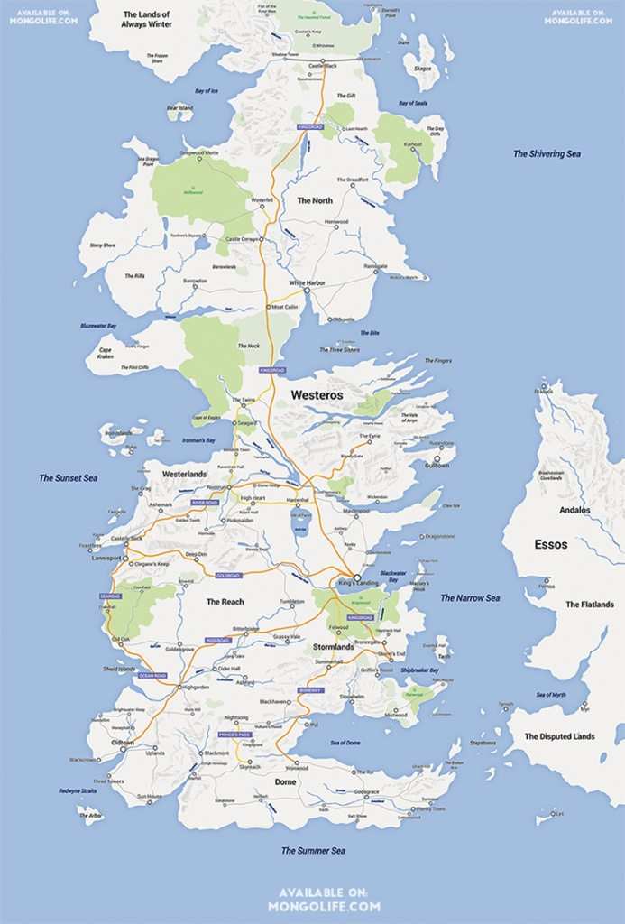 A Google Maps Version Of The Continent Of Westeros From 'game Of - Printable Map Of Westeros