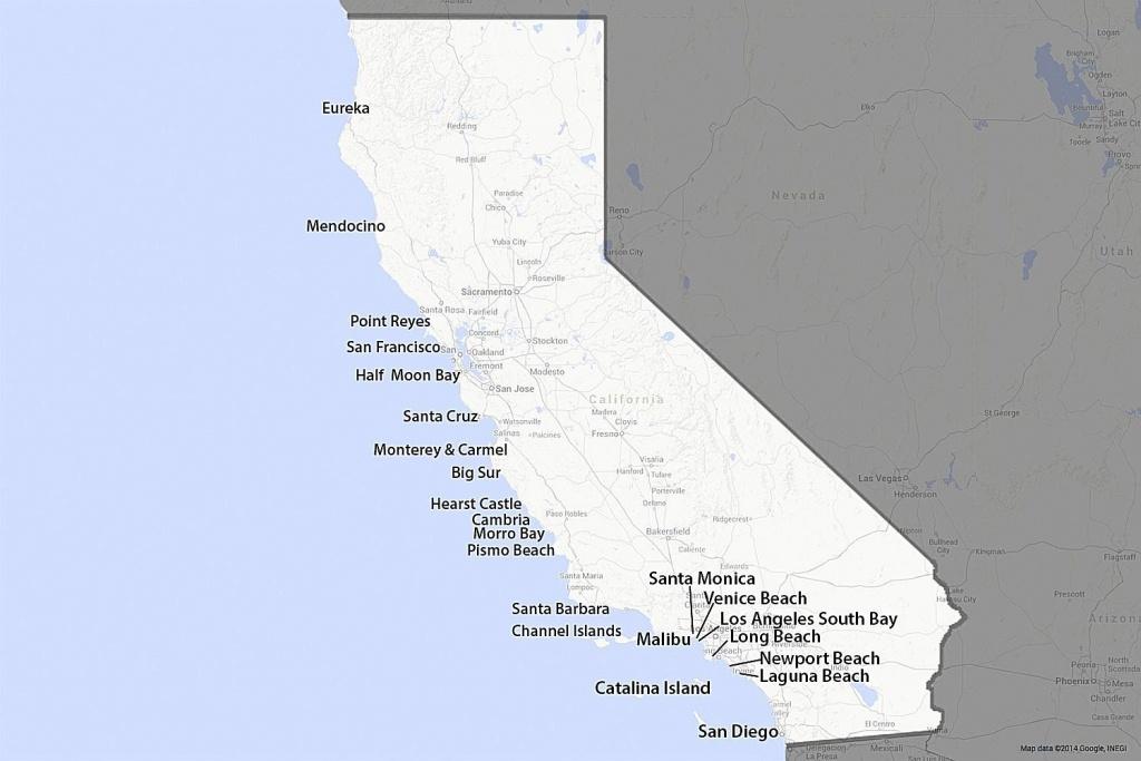 A Guide To California's Coast - California Coast Attractions Map