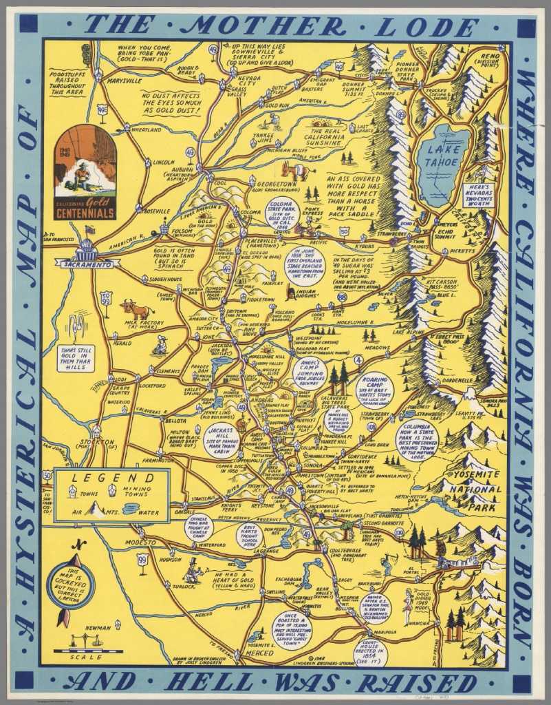 A Hysterical Map Of The Mother Lode - David Rumsey Historical Map - California Mother Lode Map