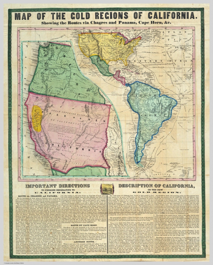 A Map Showing The Gold Mining Region Of California And Routes For - California Gold Rush Map
