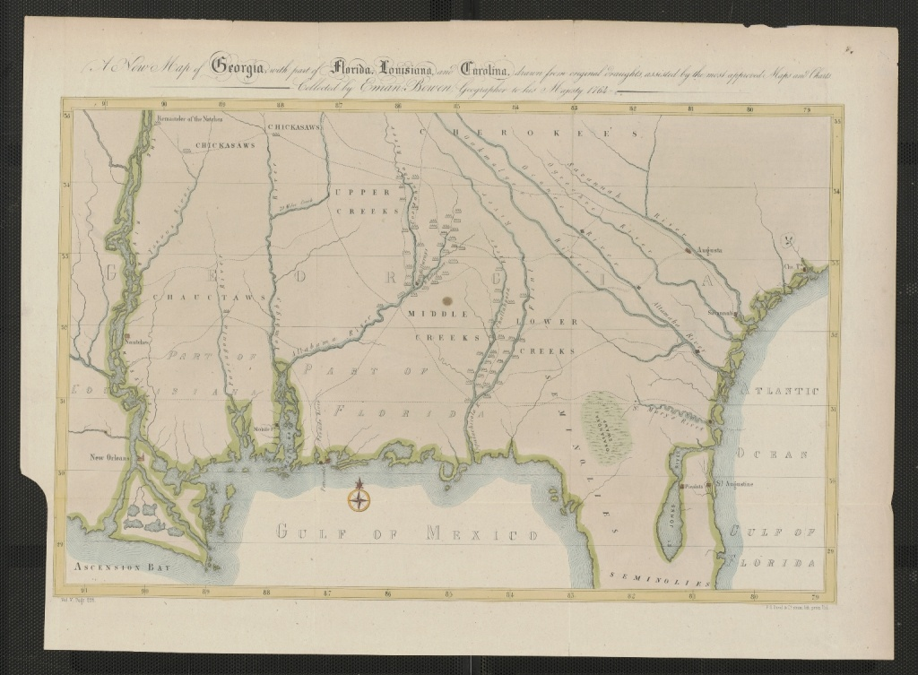 A New Map Of Georgia, With Part Of Florida, Louisiana, And Carolina - Florida Louisiana Map