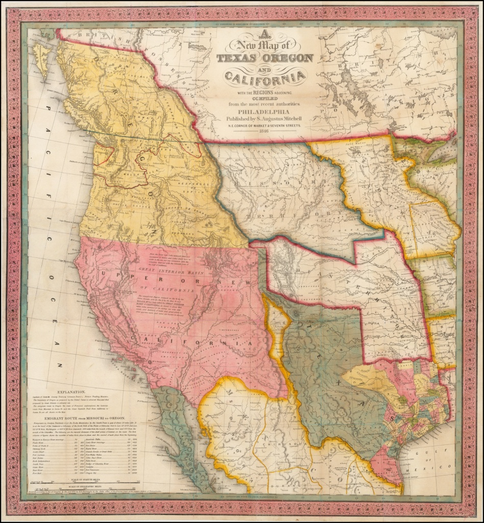 A New Map Of Texas, Oregon And California With The Regions Adjoining - Oregon California Map