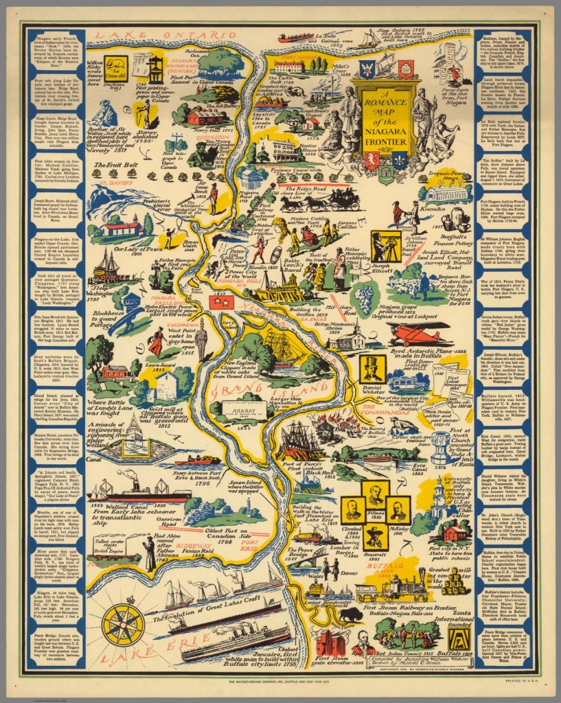 A Romance Map Of The Niagara Frontier - David Rumsey Historical Map - Printable Map Of Niagara On The Lake