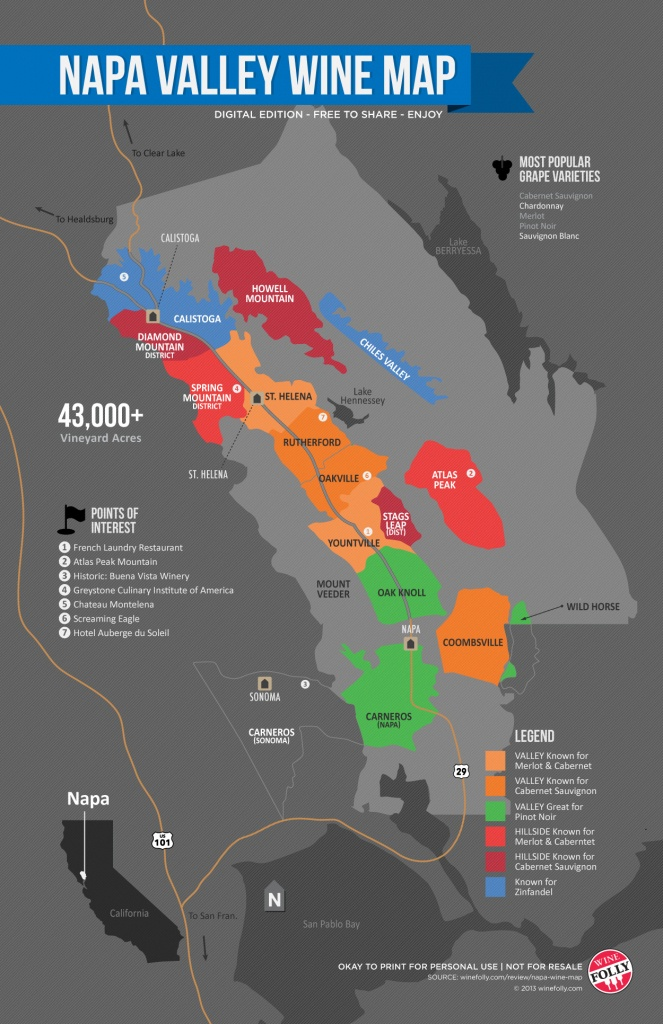 A Simple Guide To Napa Wine (Map) | Wine Folly - California Vineyards Map